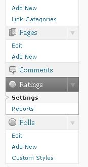 "Tab Rating ada di Dashboard WordPress. Dekat dengan tab ""comments""."
