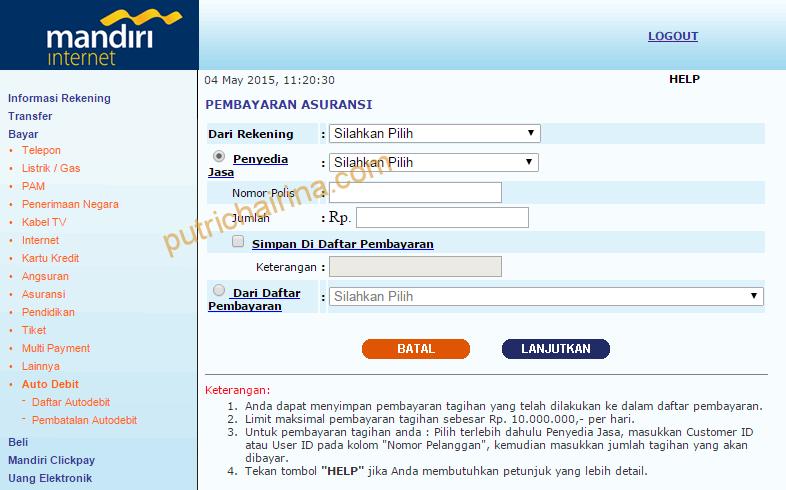Tampilan Awal Pembayaran Asuransi e-Banking Mandiri