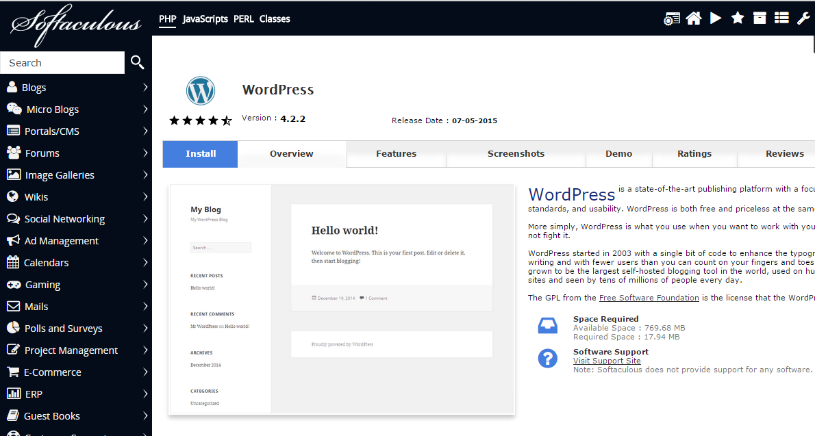 wordpress in softaculous