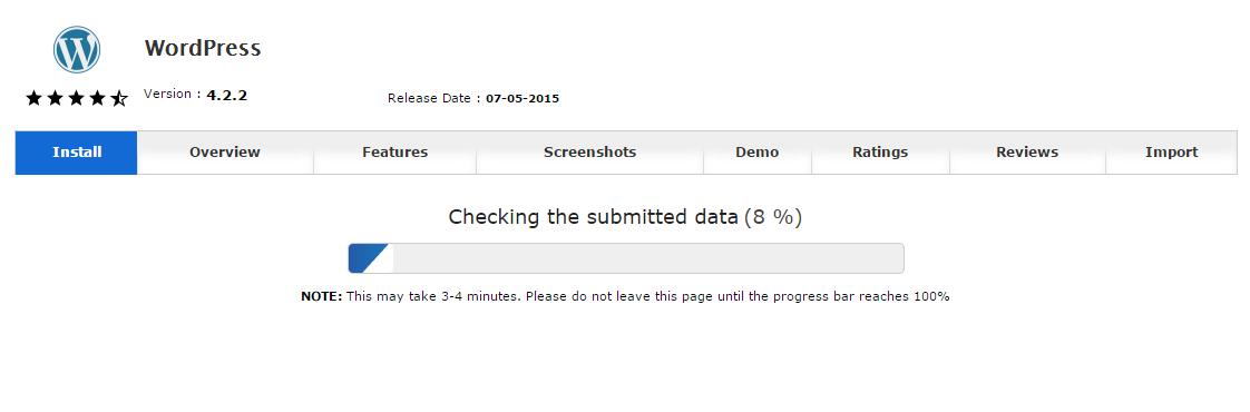 Proses instalasi WordPress sedang berjalan