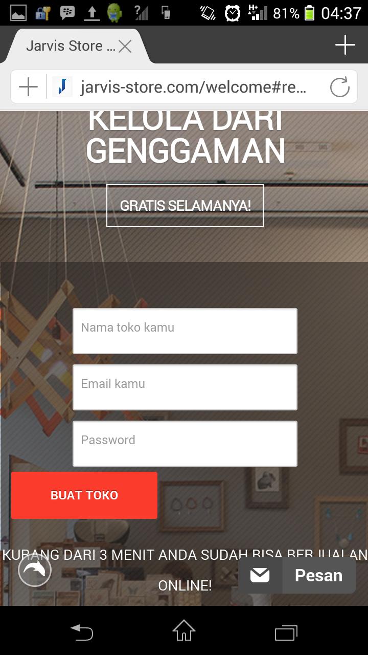 Tahap 2 : isi nama toko, email admin toko, dan password admin.
