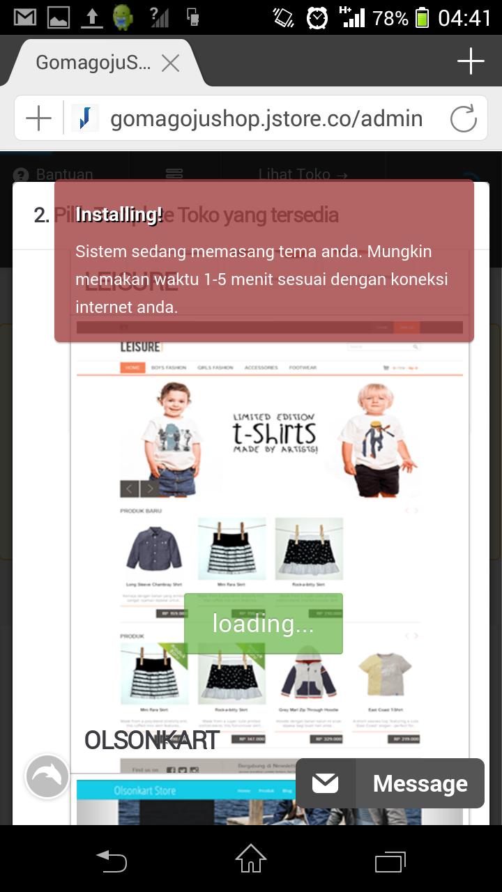 (masih) Tahap 6 : Tunggu beberapa saat untuk proses setting toko online.